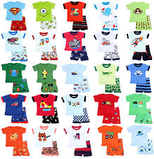63 Styles Short sleeve Pajamas + Shorts Baby Toddler Kid's Size 2T-7T  For Boys