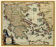 Old Greece Map - Greece Aegean Sea and Crete - Visscher 1681 - 23 x 27.66