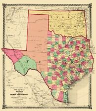 Old State Map - Texas and Indian Territory - Warner and Beers 1876 - 23 x 26.70