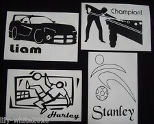 WALL STICKERS Removable Decal Transfer Personalised BOYS Football & Car Stickers
