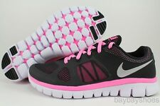 NIKE FLEX 2014 RUN GS BLACK/SILVER/PINK GLOW RUNNING FREE WOMENS US YOUTH SIZES