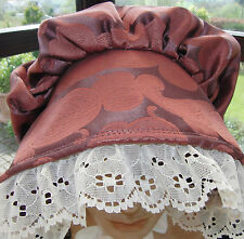 VICTORIAN LADY DUSKY PINK BONNET WITH LACE OPTIONS, HANDMADE BY COSTUME DESIGNER