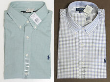 Polo Ralph Lauren Mens Pony Logo Custom Slim Fit Green White Sport Dress Shirt