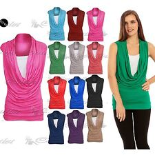 Womens Ruched 2 In 1 Cowl Neck Ladies Sleeveless Jersey Vest T Shirt Tank Top