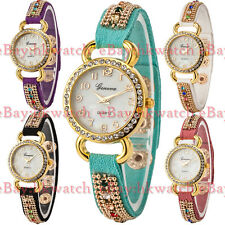Fashion Geneva Leather Stainless Steel Womens/Girl Crystal Quartz Wrist Watch