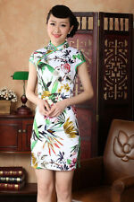 Chinese women's cotton Mini dress Cheongsam white S M L XL XXL