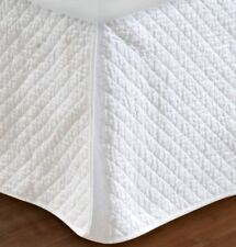 WHITE DIAMOND QUILTED Twin Full Queen King BEDSKIRT - COTTAGE STITCH BED SKIRT