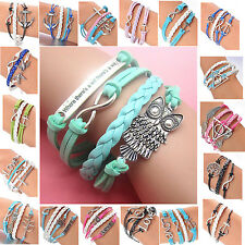Friendship DIY Infinity Owl Leather Cute Charm Bracelet Bronze Silver Multistyle