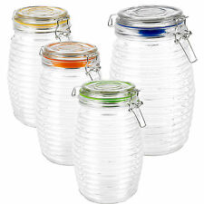 1.5L Large Glass Storage Jar With Lid Air Tight Seal Metal Clamp Ringed Design