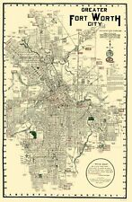 Old City Map - Fort Worth Texas - Rogers 1920 - 23 x 35.12