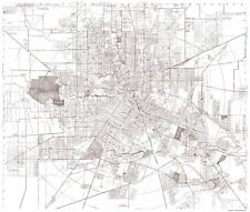 Old City Map - Houston Texas - Bracey 1945 - 23 x 27.10