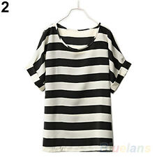 Vogue Ladies Chiffon Striped Short Sleeve Loose Summer Blouse Tops T Shirts B1CU