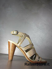 Women's Sandals Shoes TOD'S Ivory Leather Bands Heels 95 Made In Italy Luxury