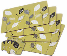 LEMONGRASS PLACEMAT & COASTER SETS CORK BACKED CHOOSE 4,6 or 8 PLACE SETTING