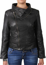 Ladies Jacket Women's Real Sheep Leather Biker Women's Leather Asymmettric BNWT