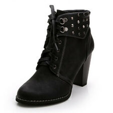 WOMAN SHOES BLACK RIDDING/MILITARY/MOTORCYCLE BLOCK HEEL ANKLE BOOTS LACE STUDS
