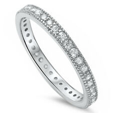 Pave Cz Eternity Style Band .925 Sterling Silver Ring Sizes 4-10