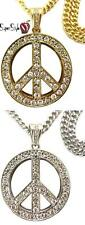 Crystal Iced Out Hippie Cuban Chain Design Amazing Peace Sign Sexy Pendant Set