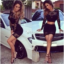 Womens Lace Two-Piece Bodycon Crop Top Skirt Party Bandage Bodycon Mini Dress