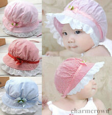 3-24 Months Cute Toddlers Baby Girls Lace Flower Sun Hat Cap Summer Cotton Hat