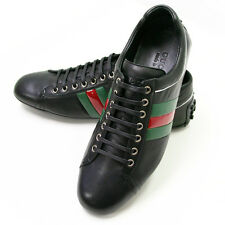NEW GUCCI BLACK/RED/GREEN LEATHER LACE/UP DRIVER MENS CASUAL HOT SHOES/SNEAKERS!