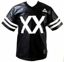 New Men's Royal Army PU Faux Leather Black Perforated Football Jersey MCMLXX