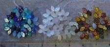 50 Presiosa Czech Glass Leaf White Frost Gold Blue Assorted Glass Drop Beads