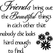 FRIENDS BRING OUT THE BEAUTIFUL THINGS Wall Decal Sticker Word Art Home Decor
