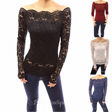 Floral Lace Scallop Off Shoulder Long Sleeve Fitted Sheer Blouse Top