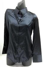 Janique Ladies BLACK Satin Style Long Sleeve Summer Blouse / Top - Various Sizes