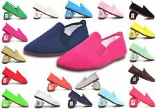 NEW JAVER FLAT SHOES FLOSSY STYLE PLIMSOLL PUMPS SCHOOL JOG GYM COLOURS UK 3-11