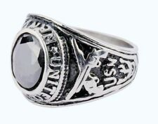 Black Silver Tone Stainless Steel Class Ring CZ Black Stone