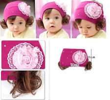 Lovely Kids Lace Silk Rose Flower Baby Hair Band Elastic Headband with Wigs
