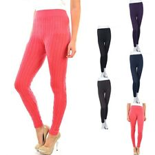 Cable Knit Leggings Casual Skinny Pants Good Stretch Comfy Span ONE SIZE
