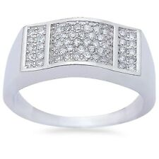 Men's 1ct Pave Cz Fashion Engagement .925 Sterling Silver Ring Sizes 8-11