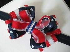 July 4th Patriotic Navy Star Red Stripe Glitz Hair Bow Clip Barrette Headband