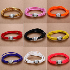 Charms Leather Wrap Wristband Magnetic Rhinestone Buckle Bracelet 13 Color Hot
