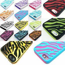 For iPhone 5 5S Zebra Hybrid Impact Combo Hard Soft Skin Case Cover 5G Accessory