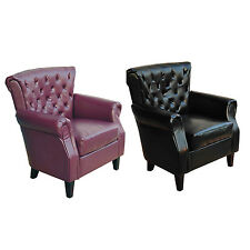 Deluxe Club Chair Tub/Barrel Design Armchair Seat Accent Couch PU Leather/Linen