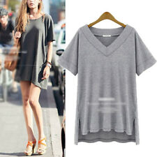 2014 New Stylish Womens Irregular Short Sleeve V Neck Tops T Shirt Blouse TEE