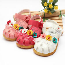 Cute Baby Girls New Summer Toddlers Kids Flowers  Velro Sandals Mary Jane Shoes