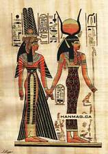 "Egyptian Papyrus Painting - Isis and Nefertary 7X9"" + Hand Painted #53"