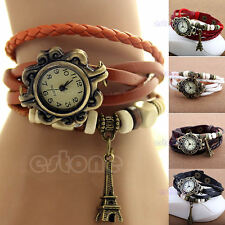 Womens Retro Leather Bracelet  Eiffel Tower Decoration Quartz Wrist Watch
