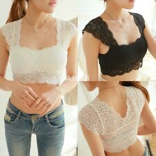 Hot Ladies Crochet Lace Midriff Crop Top Stretch Vest Camisole Tank Tops T Shirt