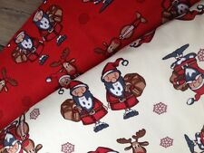 COTTON Christmas Fabric / Material. Santa, Rudolph. Bunting, Napkins.Cream & Red