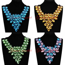 Hot Fashion Black Ribbon Water Drop Glass Charm Choker Statement Bib Necklace