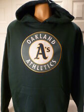 "4614 MENS Majestic OAKLAND ATHLETICS A'S ""Sewn"" Hooded Jersey Sweatshirt GREEN"