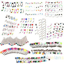 20X Mixed Colors Eyebrow Tongue Nose Navel Belly Button Studs Body Piercing B1CU