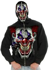 Men's Evil Clown Hoodie Killer Scary Black Sweatshirt Halloween Adult Costume