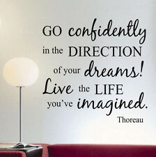 Vinyl Wall Lettering Go Confidently Thoreau Quote 2 foot Decal Sticker